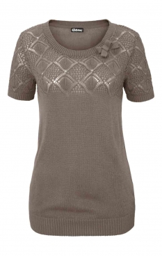 Ajourmuster-Pullover, taupe von Chillytime