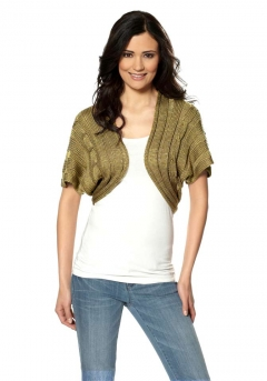 Strickbolero, khaki-gold von Laura Scott
