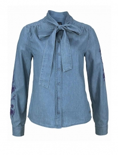 Jeansbluse m. Stickerei, blau von Laura Scott