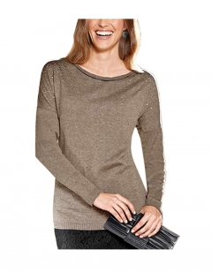 Pullover m. Strass, taupe