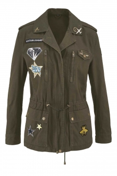 Jacke m. Badges u. Pins, khaki von Blue Monkey