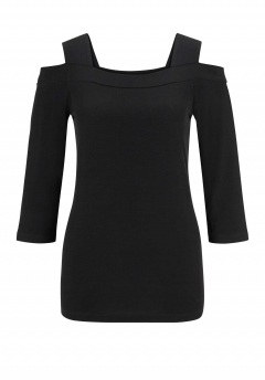 Jerseyshirt m. Cut-Outs, schwarz von Alessa W. Collection